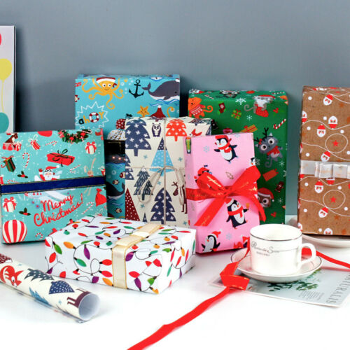 4pcs Gift Wrap Packaging Wrapping Paper 70*50cm Christmas Birthday Party Craft