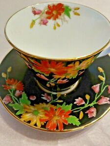 Rare-1920s-Aynsley-VTG-Hand-Painted-Demitasse-Tea-Cup-amp-Saucer-Art-Deco-EXC
