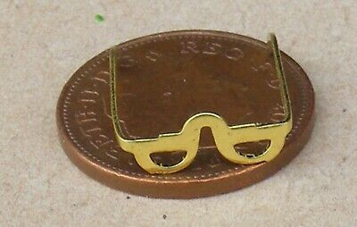 1:12 Scale Pair Metal Of Reading Glasses Tumdee Dolls House Spectacles D393