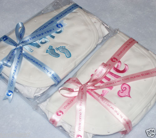 Any Name with cute design Vest /& Bib Gift Set Personalised New Baby Sleepsuit