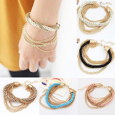 Trendy Womens Multilayer Gold Chain Handmade Braided Bangle Rope Bracelet