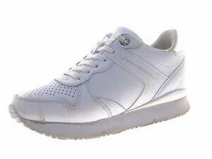 TOMMY HILFIGER DRESSY WEDGE Damen Sneaker Laufschuhe Gr 37 Weiß Leder
