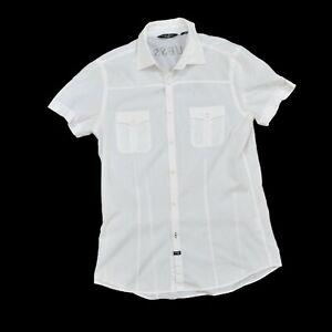 Dettagli su Guess by Marciano uomo camicia slim fit bianco M casuals a maniche corte Super mostra il titolo originale