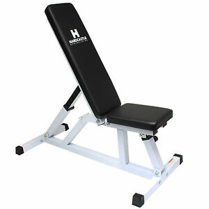 Details about Hardcastle White Adjustable Flat/Incline Weight Bench Home  Gym Dumbbell Workout