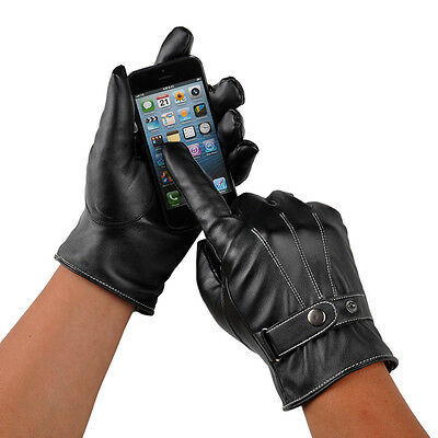 Men Black Winter Leather Motorcycle Full Finger Touch Screen Warm Gloves Fashion