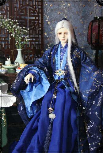 1//4 1//3 SD17 Uncle ID72//75 BJD Clothes Archaic Outfit Blue Bronzing fabric 9 Pcs