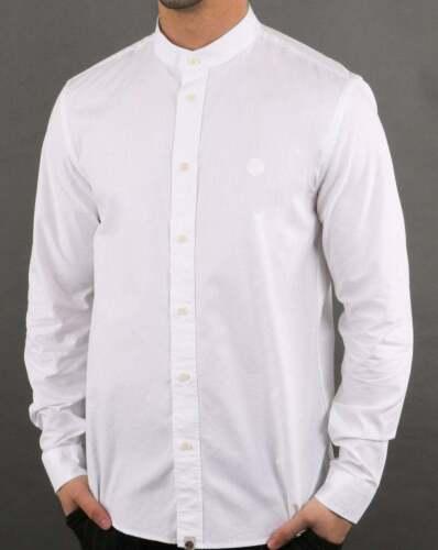 et coupe chemise slim Blanc Grandad Button Jolie sans Down col Shirtm verte 1BqIX