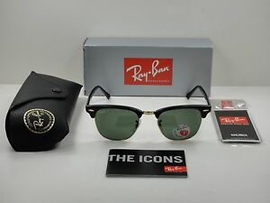 RAY-BAN-CLUBMASTER-POLARIZED-SUNGLASSES-RB3016-901-58-BLACK-GREEN-LENS-49MM-NEW