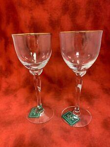 Set of 2 Lenox Unity Pattern Crystal Wine Glasses Never Used