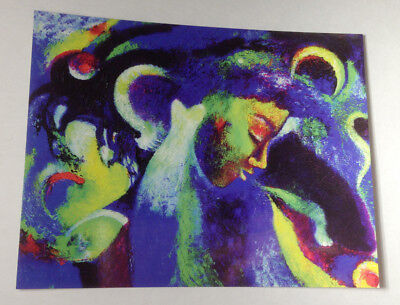 artist art painting postcard girl and witch Moon Dreams Abstract Expressionist