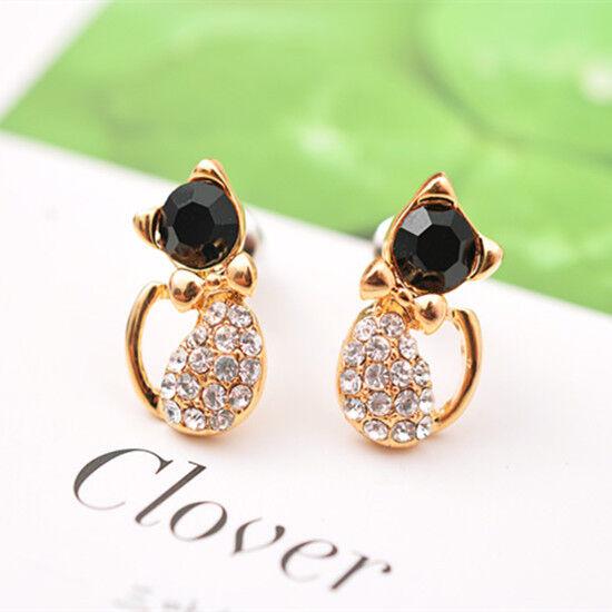 Women Lady Elegant Crystal Rhinestone lovely cat kitty Ear Stud Earrings fashion