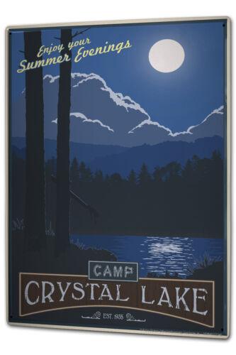 Blechschild XXL Welt Reise Camp Crystal Lake Sommerabende Mond