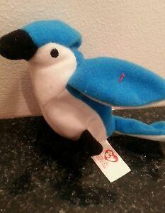 cd7f109a292 MCDONALDS TOY TY TEENIE BEANIE BABIES ROCKET THE BLUE JAY BIRD 1993 ...