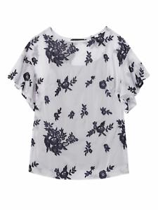 Nwt banana republic embroiderot bell sleeve top Blau small S 797615 blouse shirt