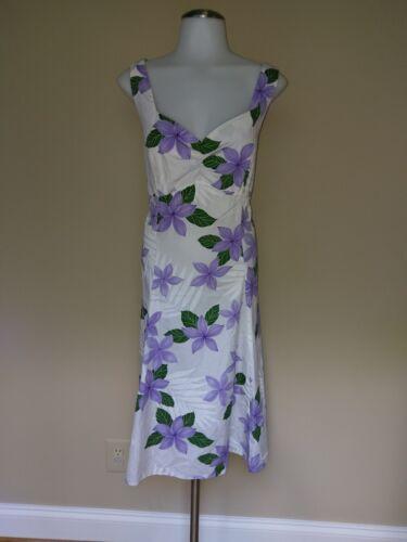 Hawaiian Dress Purple Green Floral Flower XL Cotto