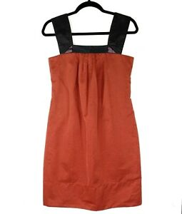 CUE Women's Sz 8 Rust Black Straps Sleeveless Knee Length Shift Dress