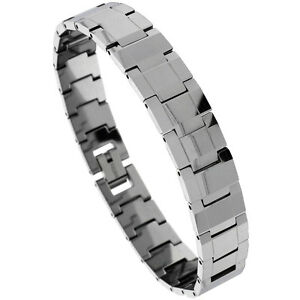 Tungsten-Carbide-Bracelet-w-Rectangular-Faceted-Bar-Links