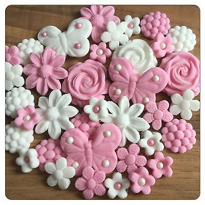 36 EDIBLE FLOWERS BUTTERFLIES Pink  Cake Cupcake Decorations Toppers Wedding