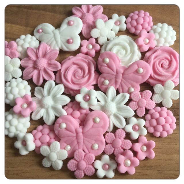 36 EDIBLE FLOWERS AND BUTTERFLIES Pink & White Sugar Cake Cupcake Toppers
