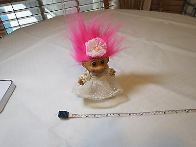 Russ Troll Trolls doll RARE 18315 Bernie BRIDE Wedding dress white pink hair MRS
