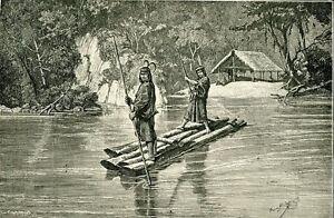 S-A-Indians-Peru-1894-Antique-Vintage-Print-art-Peruvian-Types-raft-river-hut