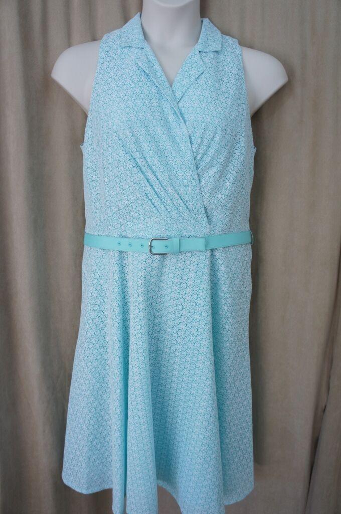 Evan Picone Dress Sz 14 Weiß Blau Sleeveless Belted Waist Cocktail Evening