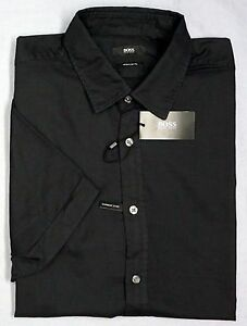 NWT-145-Hugo-Boss-Regular-Fit-Black-SS-Shirt-Mens-XL-Short-Sleeve-Dyed-NEW