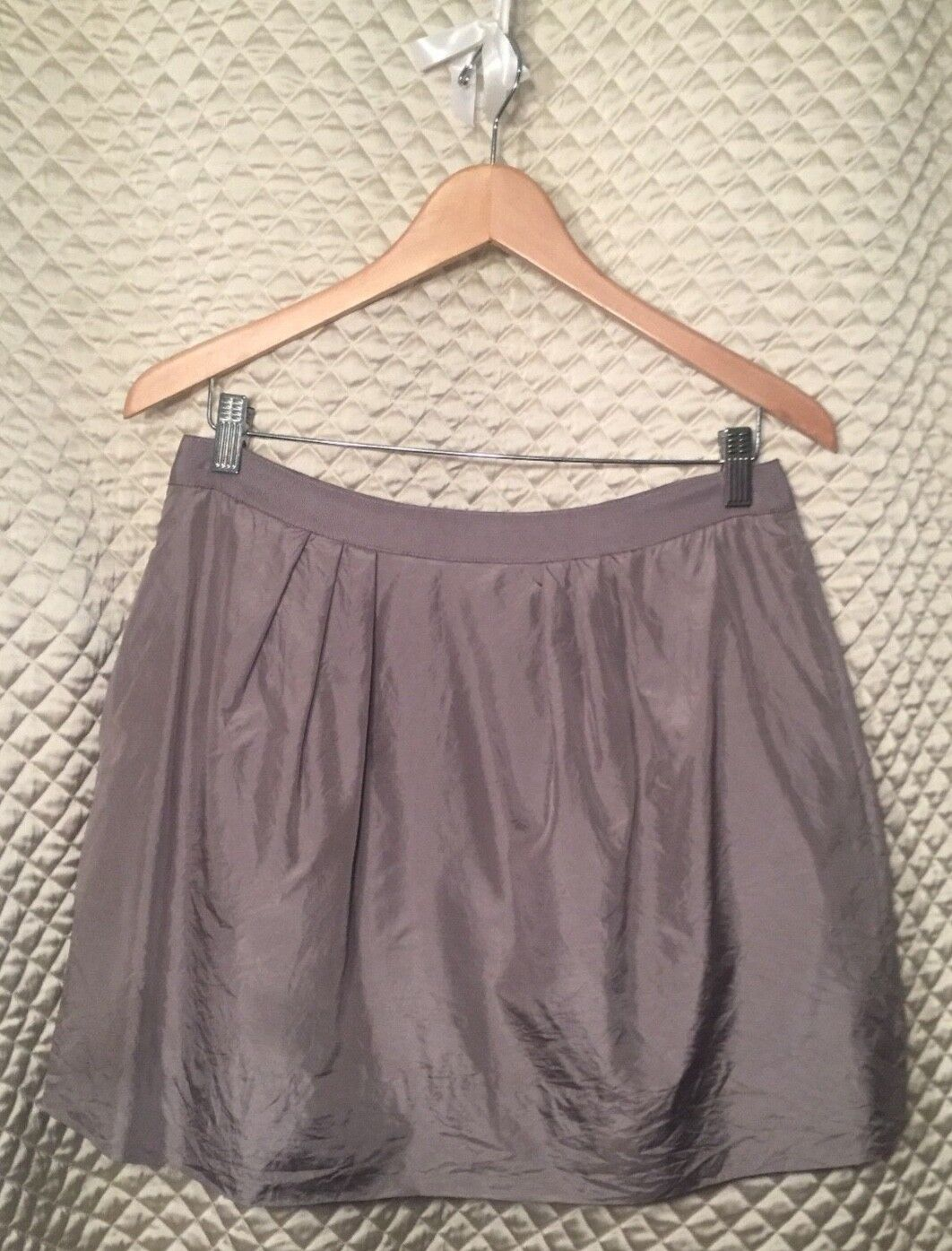 J Crew Grey 100% Silk Pouf Skirt Size 8