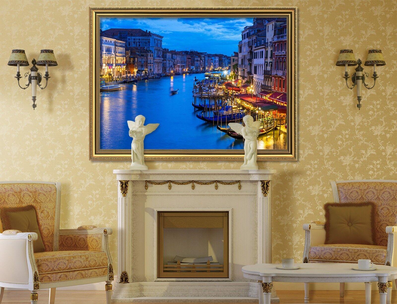 3D Night River City 6 Framed Poster Home Decor Print Painting Art AJ WALLPAPER