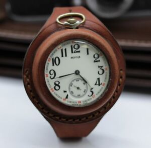 Antique-WW1-times-New-Leather-STRAP-Band-WRISTBAND-For-Pocket-Watch-50mm-WWII-KP