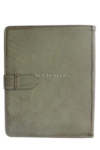 Cover Case Stand iPAD 2 3 & 4 Olive Green WAX Lambskin Luxury Genuine Leather
