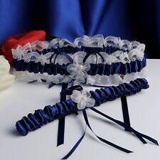 Navy Blue Wedding Bridal Garter Set Lace Floral Elastic Keepsake & Toss Garter