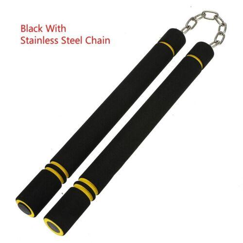 Bruce Lee Nunchakus Foam Metal Chain Safe Training Sponge Double Truncated Stick