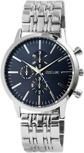 Excellanc-Herrenuhr-Blau-Silber-Analog-Chrono-Look-Armbanduhr-Quarz-X2800036003