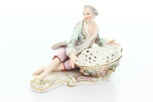 Meissen-Porcelain-Figurine-Statue-Sweet-Meat-Dish-Basket-Antique-Knauf-1880