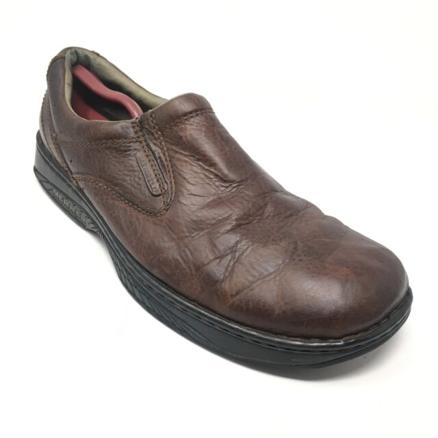 Men's Merrell World Passport Loafers Shoes Size 13M Brown Leather Stretch AC2
