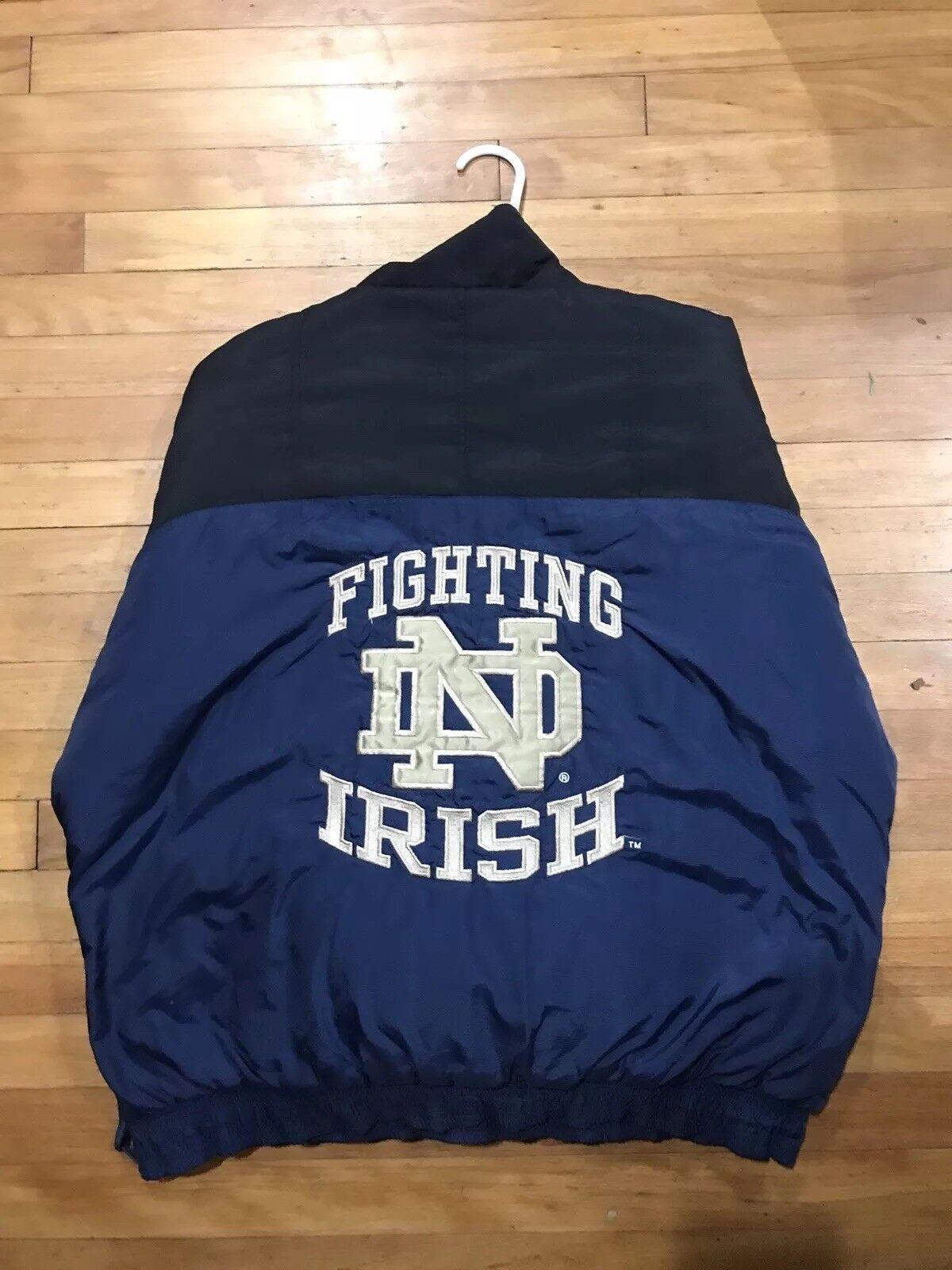 Vintage Starter - NOTRE DAME FIGHTING IRISH 1 4 ZIP COAT 90s bluee gold - L Large