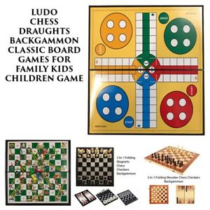 Ludo Chess Draughts Backgammon Classic Board Games For Family Kids