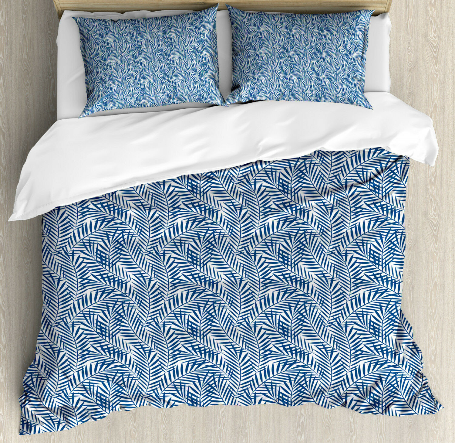 Navy blu Duvet Cover Set with Pillow Shams Abstract Exotic Nature Print
