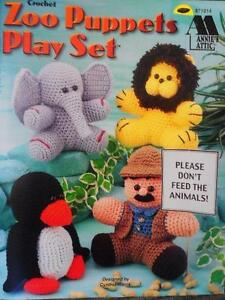 Annie-039-s-Attic-ZOO-PUPPETS-PLAY-SET-Crochet-Patterns
