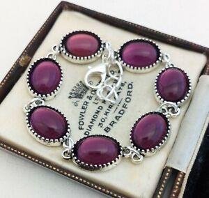 Vintage-1970s-CZECH-Amethyst-Purple-Glass-Small-Oval-Cabochon-Bracelet