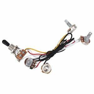 Electric-Guitar-Wiring-Harness-Kit-3-Way-Toggle-Switch-2-Volume-1-Tone-500K-H-TP