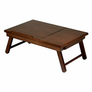Image Is Loading Wood Lap Desk Table Storage Drawer Foldable Legs