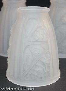 ART DECO Lampenglas satiniertes Glas Glasschirm Ersatzglas Verre Tulipe 5 vorhdn