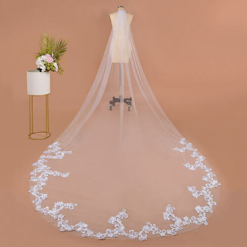 3M WHITE VOILE BRIDAL WEDDING VEIL WITH EMBROIDERED APPLIQUE LACE EDGING