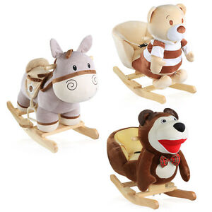 Schaukeltiere-Pferd-Bear-in-beige-und-braun-von-Prestij-NEU