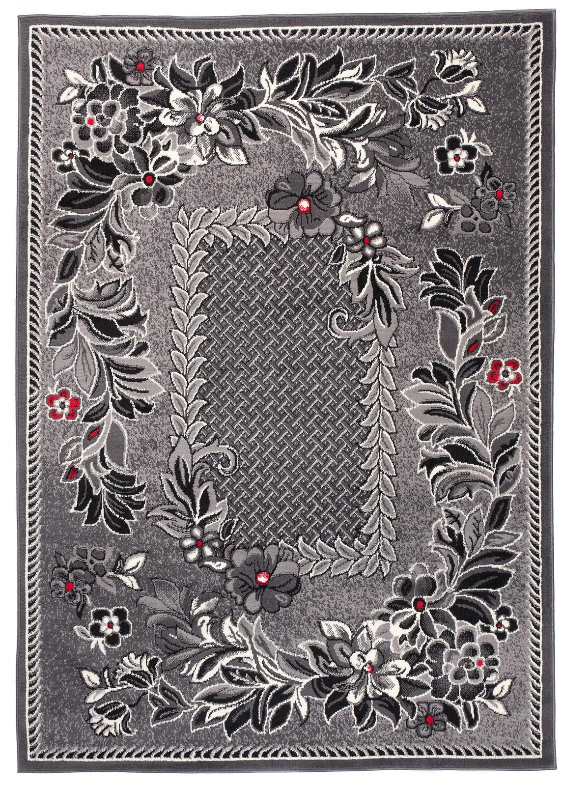 Teppich Wohnzimmer Grau Modern Blaumen S-XXL Kurzflor Kurzflor Kurzflor 160x230 200x300 300x400 801656