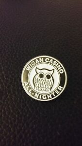 NORTHERN SOUL BADGE PINK WIGAN CASINO WHITE HEART