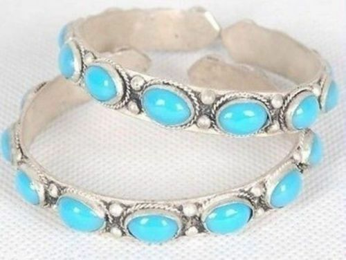 A pair Tibet Silver inlay Turquoise Lucky Cuff Bracelet