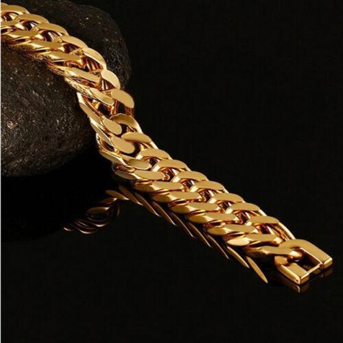 Men/'s 15 mm grosses Cuban Link Bracelet OR en Acier Inoxydable Hip Hop Rocker Chaîne